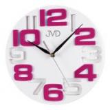 Nástěnné hodiny JVD H107.7  bílé ružová čísla